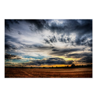 Sunset Over Wheat Fields Skyscape Print