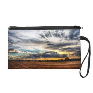 Sunset Over Wheat Fields Skyscape Wristlet Purse