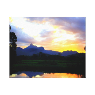 Sunset over Wollumbin Stretched Canvas Print
