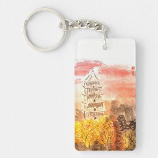 Sunset Pagoda Chinese Landscape Keychain
