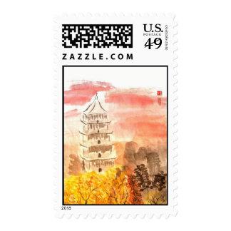 Sunset Pagoda Stamp