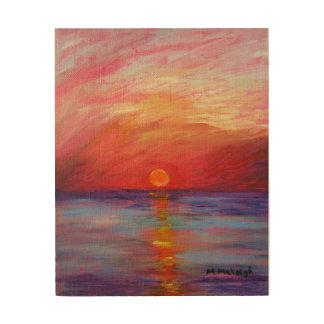 Sunset painting on wood panel wood wall art
