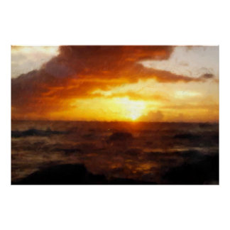 Sunset Painting Over the Ocean from Cuba on CANVAS Poster