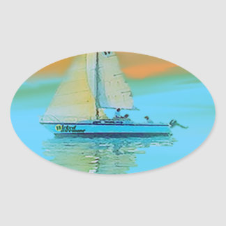 sunset painting smooth sailing 11 14.png oval sticker