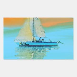 sunset painting smooth sailing 11 14.png rectangular sticker