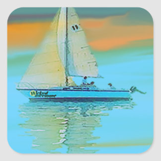 sunset painting smooth sailing 11 14.png square sticker