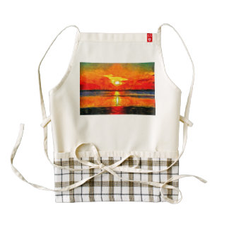 Sunset painting zazzle HEART apron