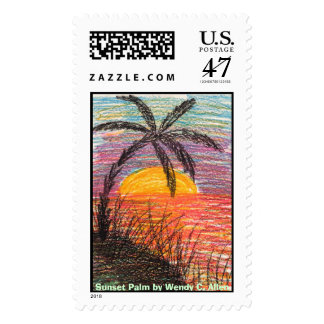 Sunset Palm by Wendy C. Allen Postage