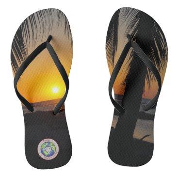 Beach Themed Sunset Palm Flip Flops