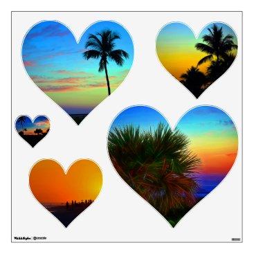 Beach Themed Sunset Palm Heart Wall Decals