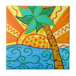Sunset Palm Small Square Tile