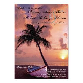 Sunset Palm Tree Beach & Boat Wedding Invitations 4.5