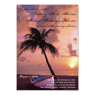 Sunset Palm Tree Beach & Boat Wedding Invitations