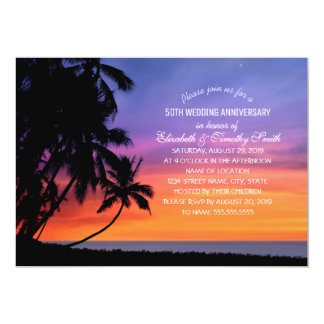 Sunset Palm Tree Beach Wedding Anniversary Party Card
