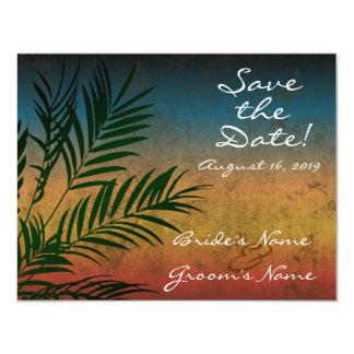 Sunset Palm Tree Branch Save the Date Card