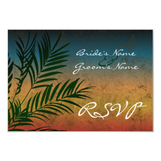 Sunset Palm Tree Branch Small RSVP Cards
