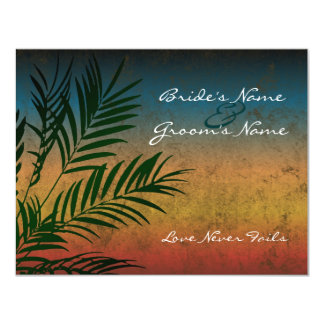 Sunset Palm Tree Branch Wedding Invitations