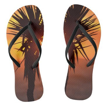 Sunset Palm Tree Flip Flops
