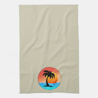 Sunset Palm Tree In Circle on Cream Kitchen Towel