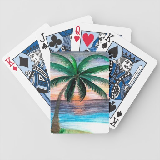 Sunset Palm Tree playing cards