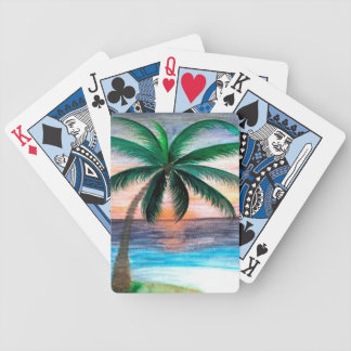 Sunset Palm Tree playing cards Bicycle Playing Cards
