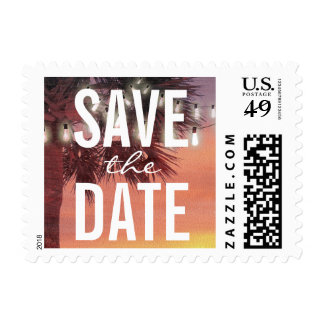 Sunset Palm Tree String Lights Save the Date Postage