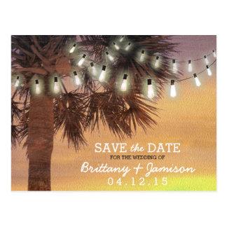 Sunset Palm Tree String Lights Save the Date Postcard