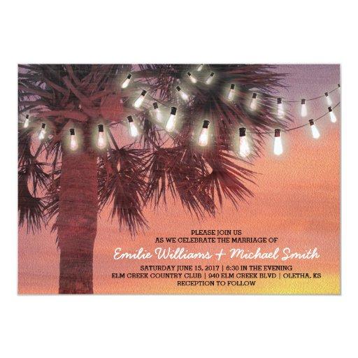 Sunset Palm Tree String Lights Wedding Invitation Zazzle