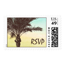 Sunset Palm Tree Wedding RSVP Postage