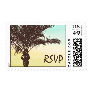 Sunset Palm Tree Wedding RSVP Postage