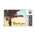 Sunset Palm Tree Wedding Thank You Postage Stamp