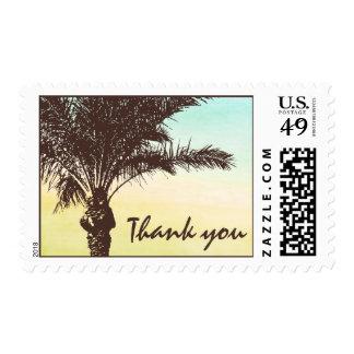 Sunset Palm Tree Wedding Thank You Postage Stamp