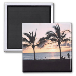 Sunset Palm Trees 2 Inch Square Magnet
