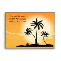 sunset palm trees 5x7 envelopes