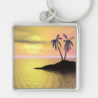 Sunset Palm Trees Keychain