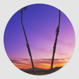 Sunset Palm Trees Round Sticker