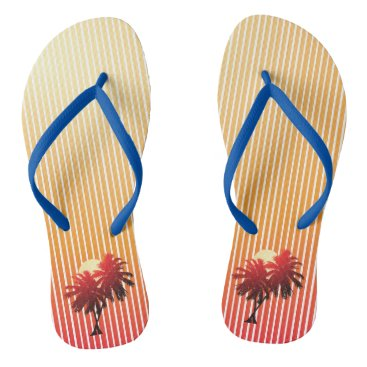 Beach Themed Sunset Palm Trees Tropical Vacation Flip Flops