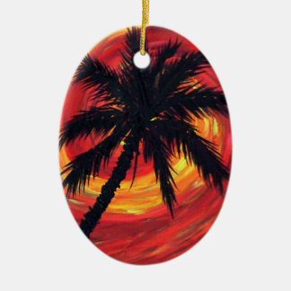 Sunset palms christmas ornaments