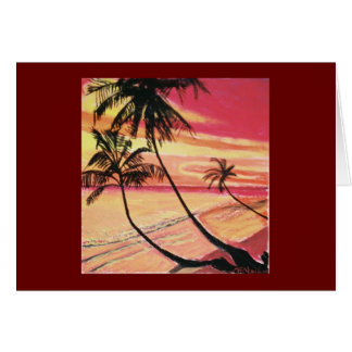 sunset & palms greeting card