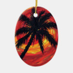 Sunset palms Double-Sided oval ceramic christmas ornament