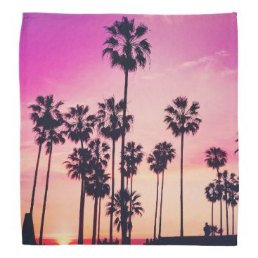 Beach Themed Sunset Palms Purple Tropical Sky Bandana