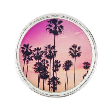Beach Themed Sunset Palms Purple Tropical Sky Pin