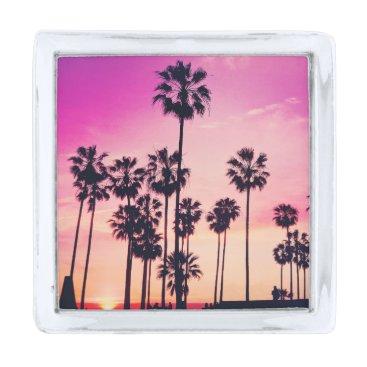 Beach Themed Sunset Palms Purple Tropical Sky Silver Finish Lapel Pin