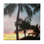 Sunset Palms Tropical Landscape Photography Ceramic Tile