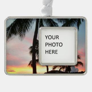 Sunset Palms Tropical Landscape Photography Christmas Ornament