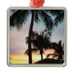 Sunset Palms Tropical Landscape Photography Metal Ornament