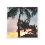Sunset Palms Tropical Landscape Photography Paper Napkin