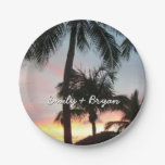Sunset Palms Tropical Landscape Photography Paper Plate