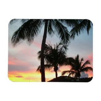Sunset Palms Tropical Landscape Photography Rectangular Photo Magnet