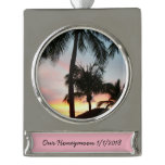 Sunset Palms Tropical Landscape Photography Silver Plated Banner Ornament